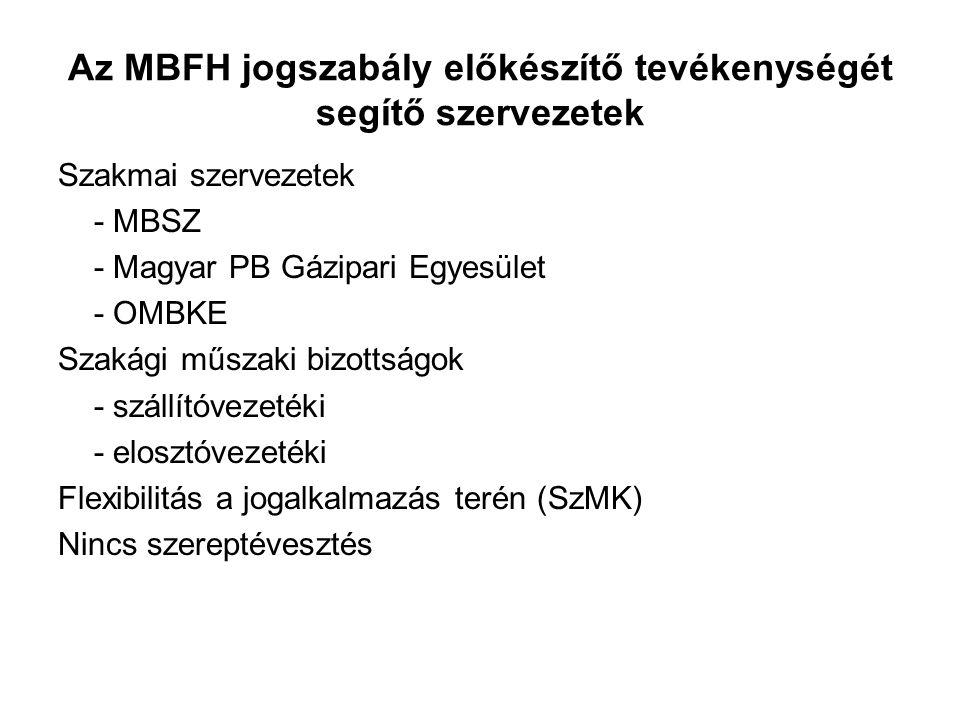 Az MBFH jogszabály előkészítő tevékenységét segítő szervezetek Szakmai szervezetek - MBSZ - Magyar PB Gázipari Egyesület - OMBKE Szakági műszaki bizottságok - szállítóvezetéki - elosztóvezetéki Flexibilitás a jogalkalmazás terén (SzMK) Nincs szereptévesztés