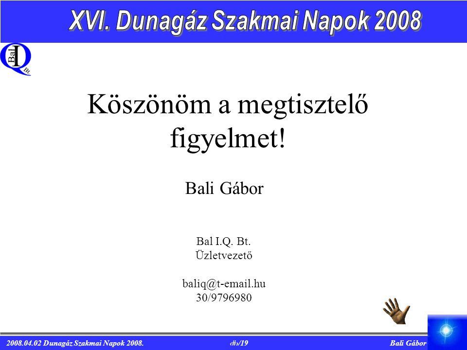 2008.04.02 Dunagáz Szakmai Napok 2008.19/19 Bali Gábor Köszönöm a megtisztelő figyelmet.