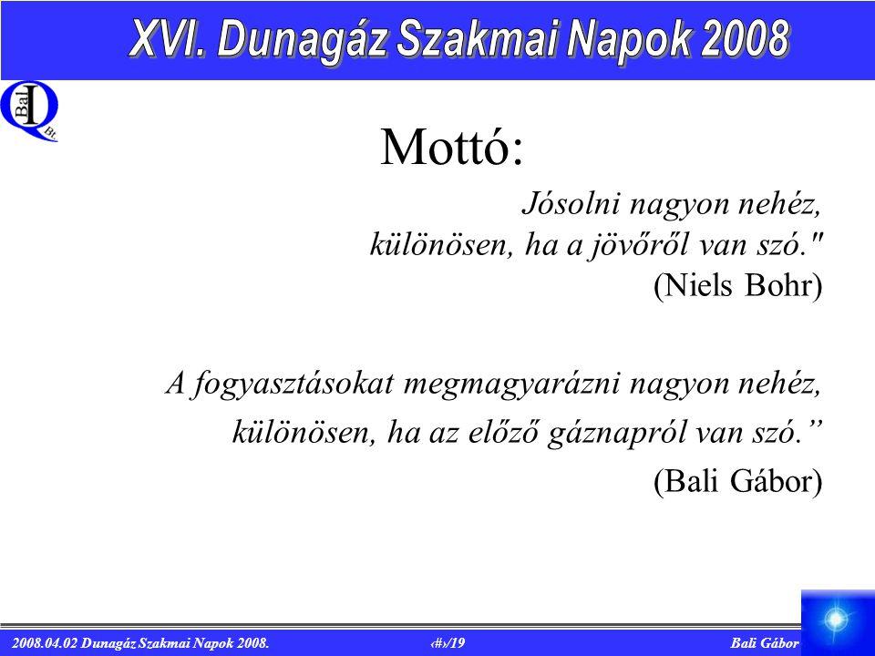 2008.04.02 Dunagáz Szakmai Napok 2008. 2/19 Bali Gábor Mottó: Jósolni nagyon nehéz, különösen, ha a jövőről van szó.