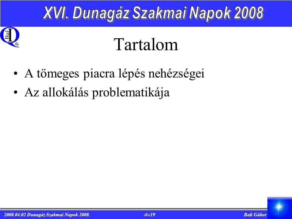 2008.04.02 Dunagáz Szakmai Napok 2008. 3/19 Bali Gábor Tartalom A tömeges piacra lépés nehézségei Az allokálás problematikája