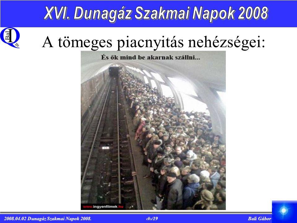 2008.04.02 Dunagáz Szakmai Napok 2008. 4/19 Bali Gábor A tömeges piacnyitás nehézségei: