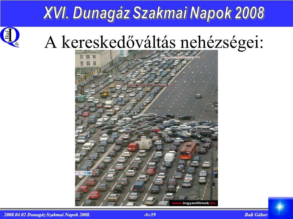 2008.04.02 Dunagáz Szakmai Napok 2008. 7/19 Bali Gábor A kereskedőváltás nehézségei: