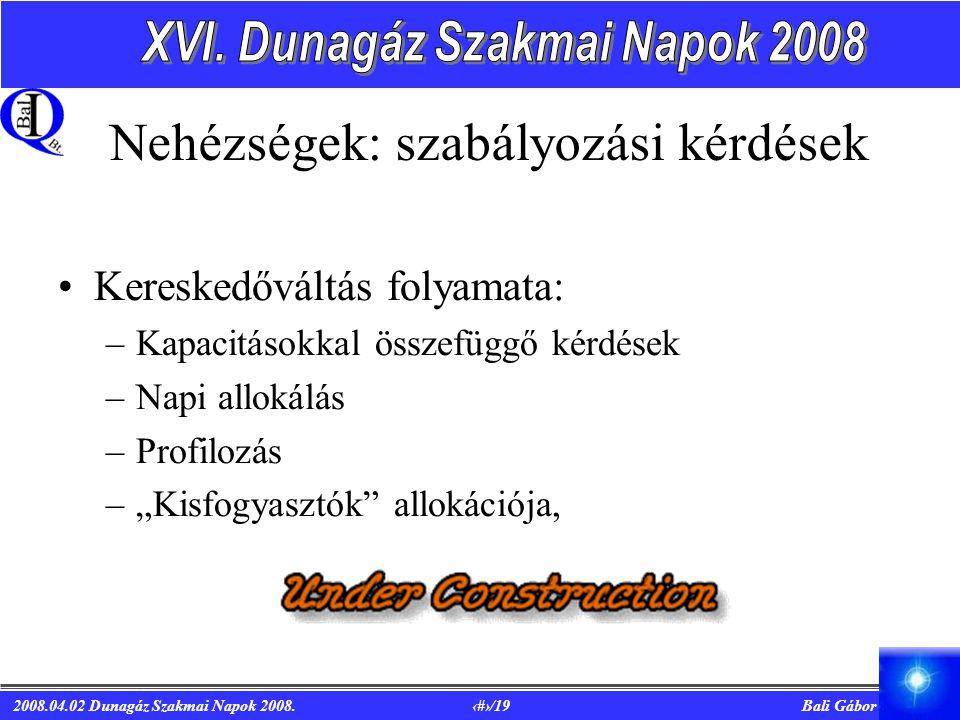 2008.04.02 Dunagáz Szakmai Napok 2008. 9/19 Bali Gábor Nehézségek: szabályozási kérdések Kereskedőváltás folyamata: –Kapacitásokkal összefüggő kérdése