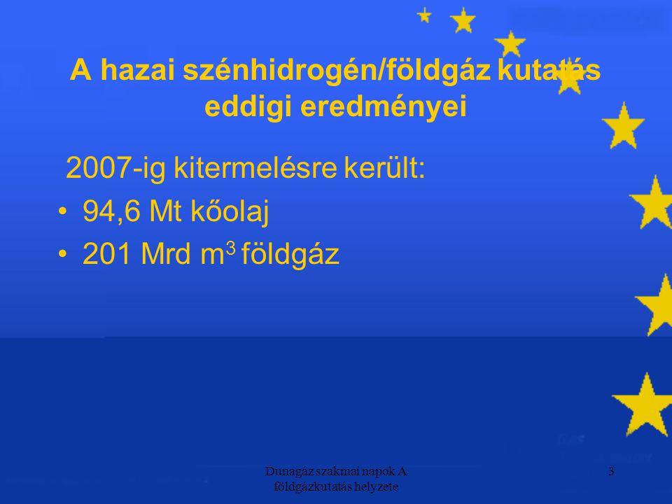 Dunagáz szakmai napok A földgázkutatás helyzete 3 A hazai szénhidrogén/földgáz kutatás eddigi eredményei 2007-ig kitermelésre került: 94,6 Mt kőolaj 201 Mrd m 3 földgáz