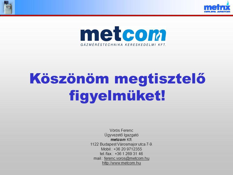 Vörös Ferenc Ügyvezető Igazgató metcom Kft. 1122 Budapest Városmajor utca 7-9. Mobil.: +36 20 9712355 tel./fax.: +36 1 269 31 46 mail.: ferenc.voros@m