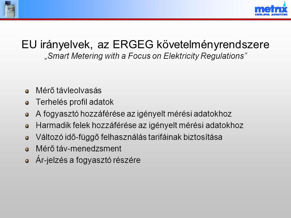 """EU irányelvek, az ERGEG követelményrendszere """"Smart Metering with a Focus on Elektricity Regulations"""" Mérő távleolvasás Terhelés profil adatok A fogya"""
