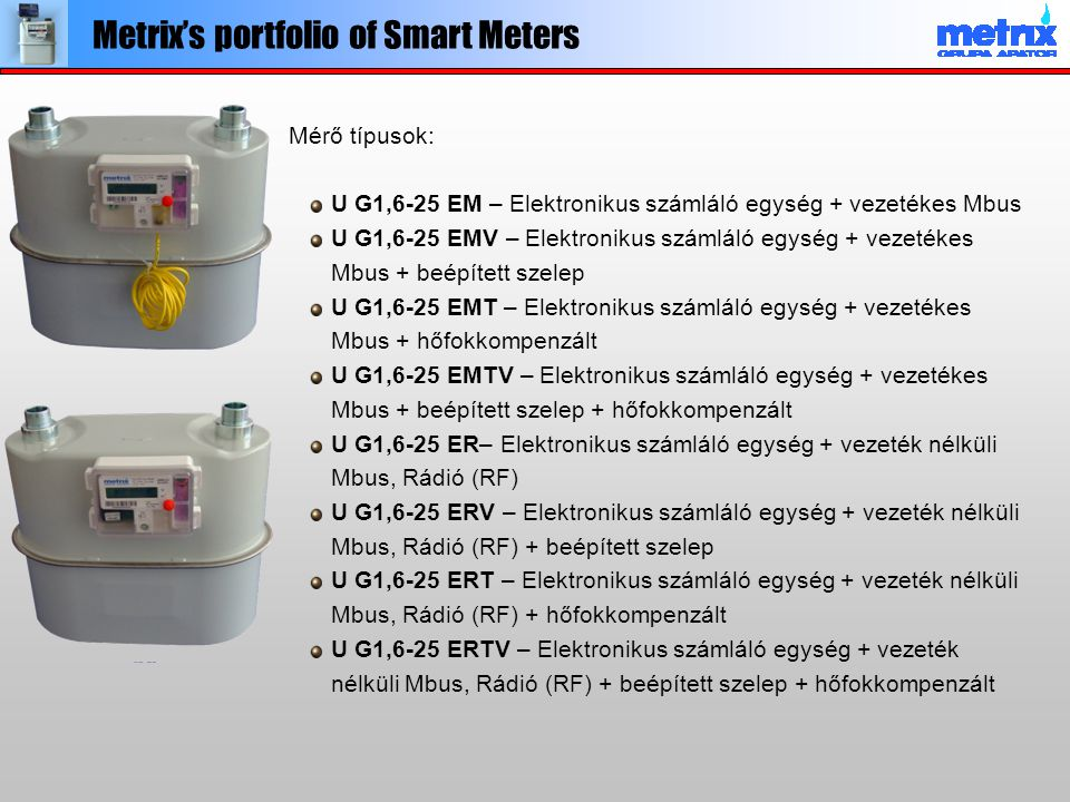 Javaslat vezeték nélküli AMR rendszerre R ≤ 50m L ≤ 1000m Up to 240 lines LSD KR-1 M-Bus GSM/GPRS KNCN-1 Apator Metrix's AMR system for gas utility metcom Gázméréstechnika