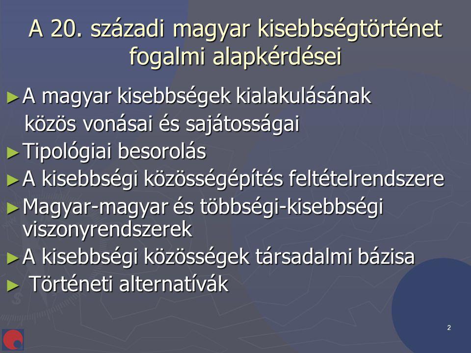 2 A 20. századi magyar kisebbségtörténet fogalmi alapkérdései ► A magyar kisebbségek kialakulásának közös vonásai és sajátosságai közös vonásai és saj