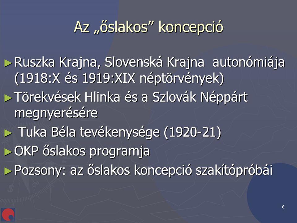 """6 Az """"őslakos"""" koncepció ► Ruszka Krajna, Slovenská Krajna autonómiája (1918:X és 1919:XIX néptörvények) ► Törekvések Hlinka és a Szlovák Néppárt megn"""