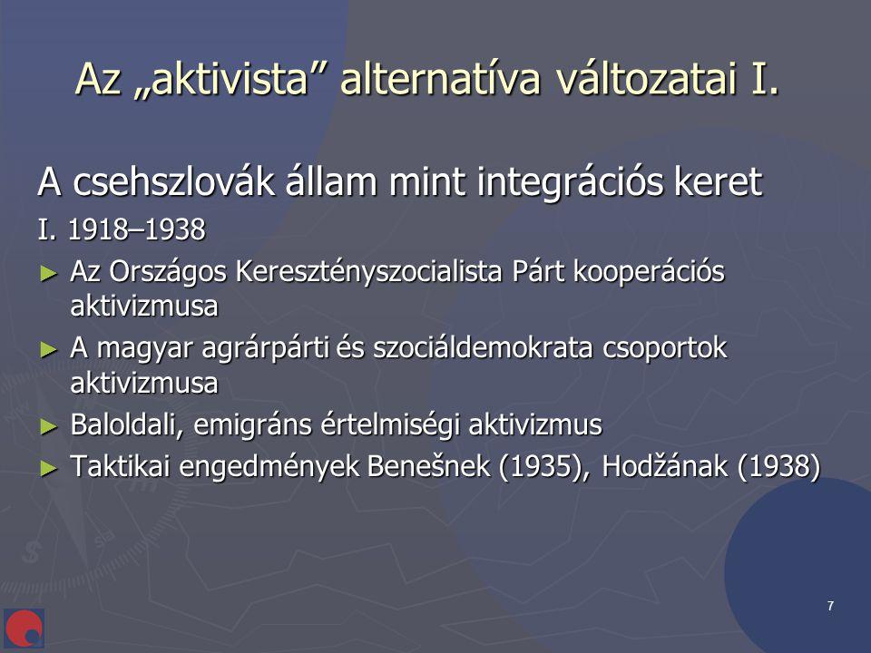 """7 Az """"aktivista"""" alternatíva változatai I. Az """"aktivista"""" alternatíva változatai I. A csehszlovák állam mint integrációs keret I. 1918–1938 ► Az Orszá"""