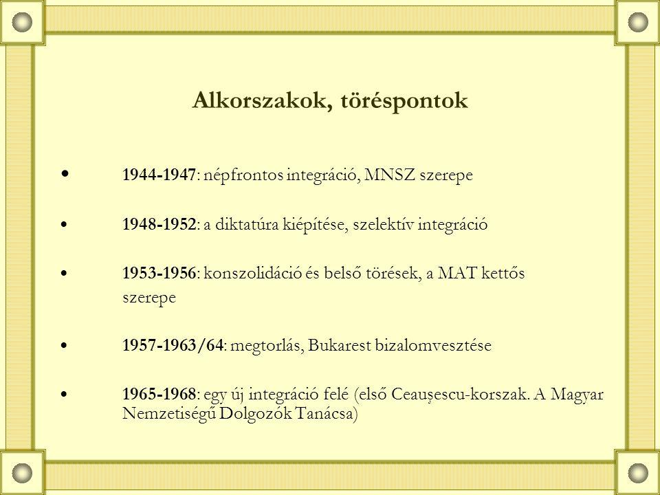 Alkorszakok, töréspontok 1944-1947: népfrontos integráció, MNSZ szerepe 1948-1952: a diktatúra kiépítése, szelektív integráció 1953-1956: konszolidáció és belső törések, a MAT kettős szerepe 1957-1963/64: megtorlás, Bukarest bizalomvesztése 1965-1968: egy új integráció felé (első Ceauşescu-korszak.