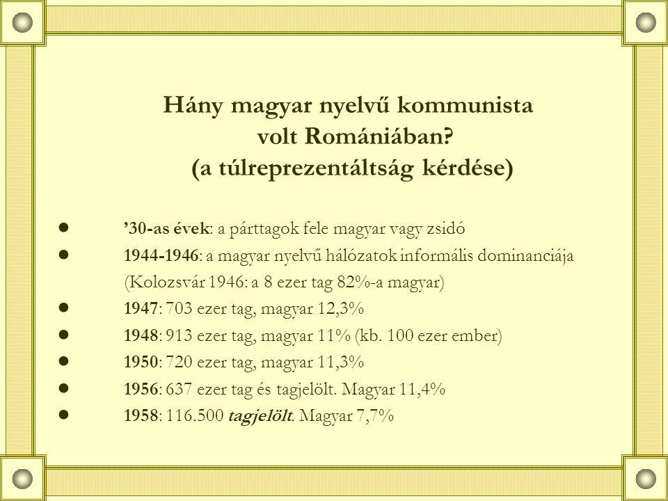 """A baloldali elit szocializációs háttere ● az illegális mozgalom traumái és élményei (bújtatás, konspirációk, börtön, láger, emigráció) ● népi kollégiumok, Bolyai Egyetem: az """"1929-es generáció ● a termelésből kiemeltek: paraszti származásúak, munkások, kisiparosok ● rejtett polgári háttér (főleg műszaki elit) ● hatvanas évek: a diszkrimináció feloldása"""