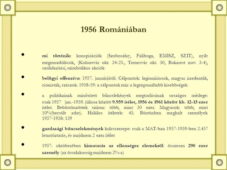 1956 Romániában mi történik: konspirációk (Szoboszlay, Faliboga, EMISZ, SZIT), nyílt megmozdúlások, (Kolozsvár okt.
