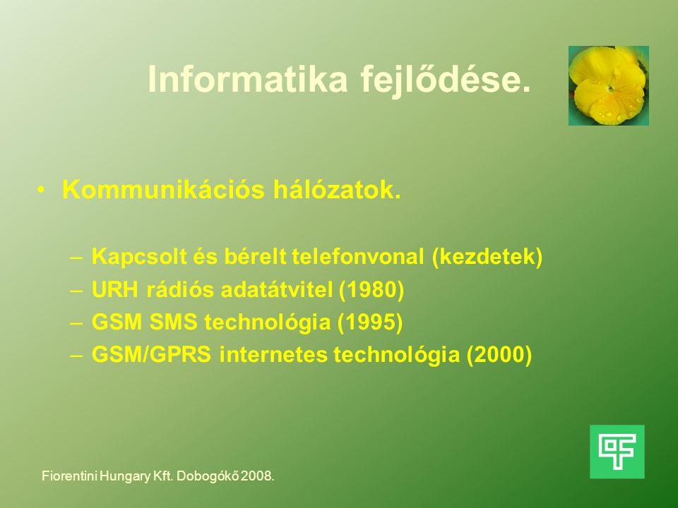 Informatika fejlődése. Kommunikációs hálózatok. –Kapcsolt és bérelt telefonvonal (kezdetek) –URH rádiós adatátvitel (1980) –GSM SMS technológia (1995)