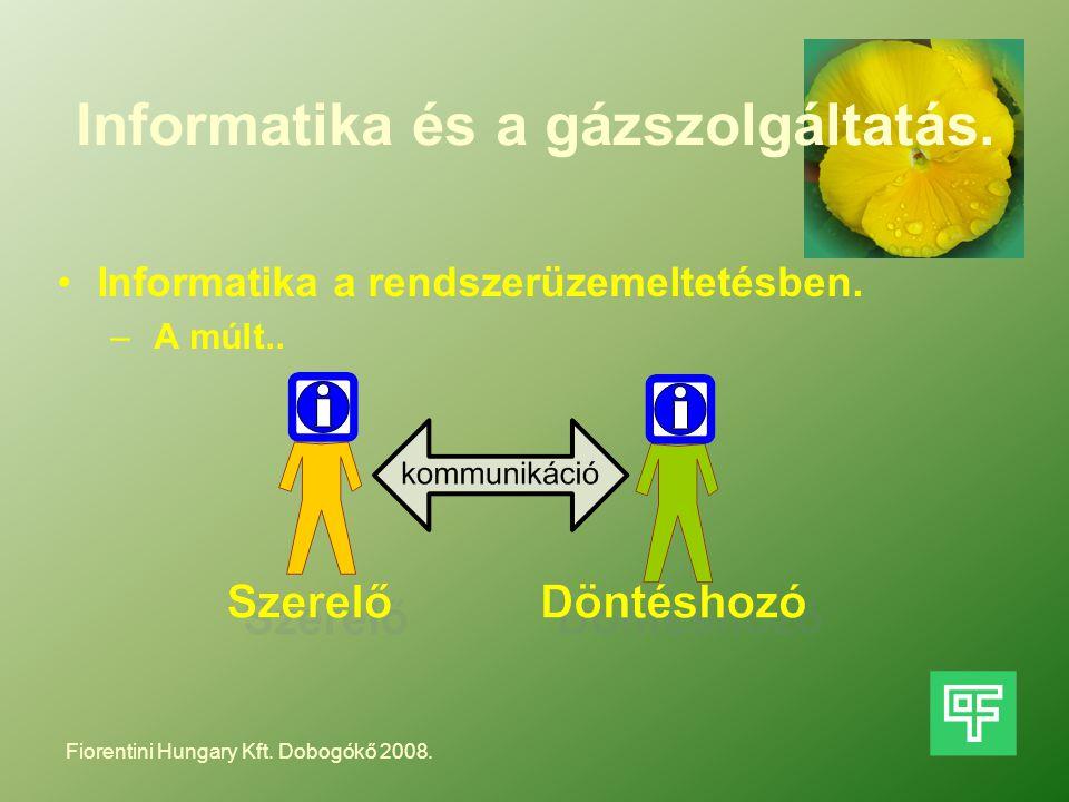 Informatika és a gázszolgáltatás. Informatika a rendszerüzemeltetésben. – A múlt.. Fiorentini Hungary Kft. Dobogókő 2008.