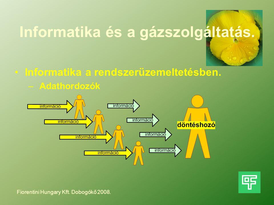 Informatika és a gázszolgáltatás. Informatika a rendszerüzemeltetésben. – Adathordozók Fiorentini Hungary Kft. Dobogókő 2008.