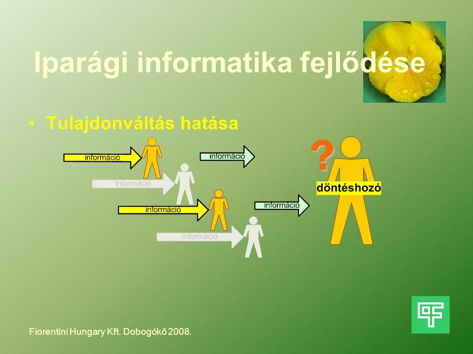 Iparági informatika fejlődése Tulajdonváltás hatása Fiorentini Hungary Kft. Dobogókő 2008.