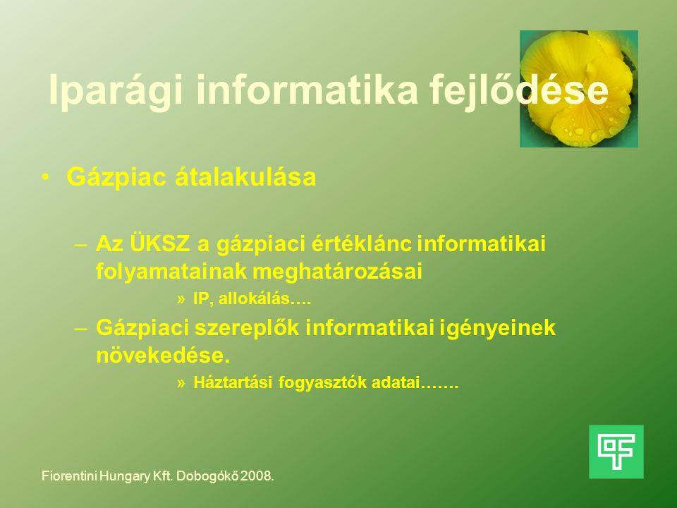 Iparági informatika fejlődése Gázpiac átalakulása –Az ÜKSZ a gázpiaci értéklánc informatikai folyamatainak meghatározásai »IP, allokálás…. –Gázpiaci s