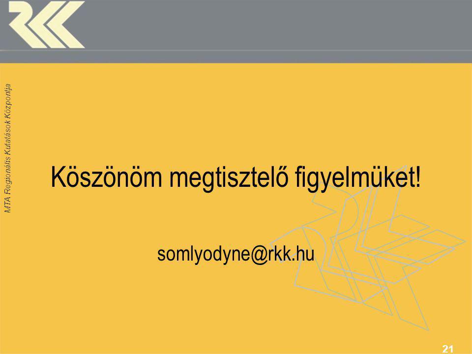 MTA Regionális Kutatások Központja 21 Köszönöm megtisztelő figyelmüket! somlyodyne@rkk.hu