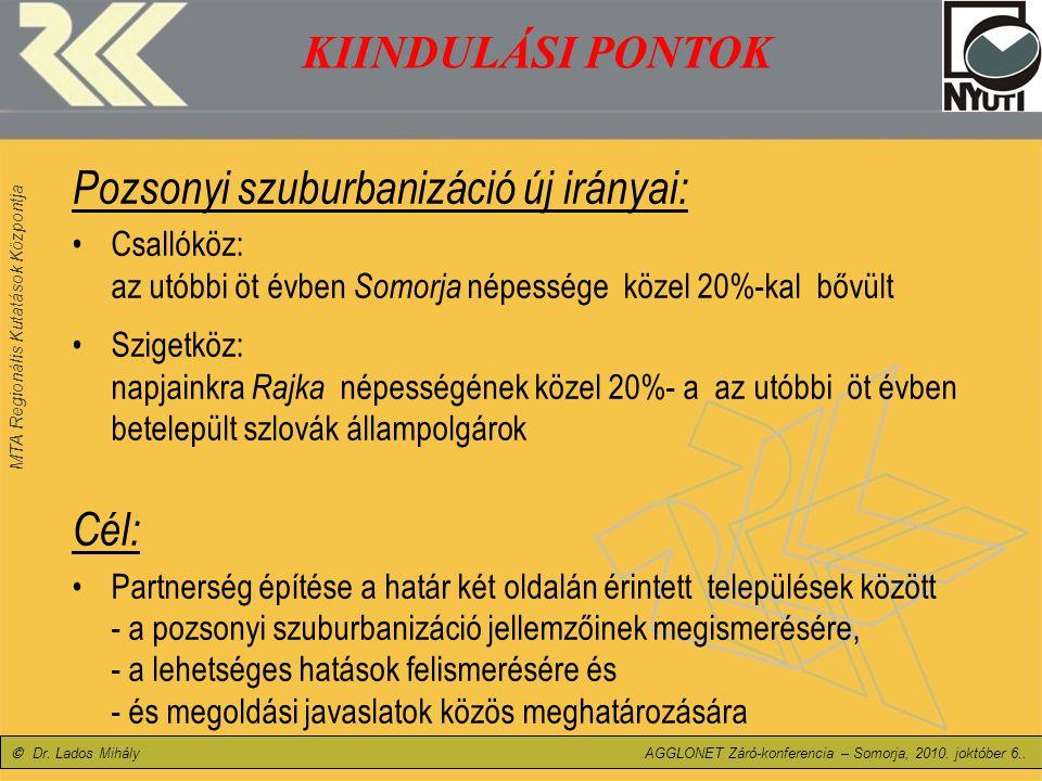 MTA Regionális Kutatások Központja MTA Regionális Kutatások Központja Nyugat-magyarországi Tudományos Intézet, Győr © Dr.