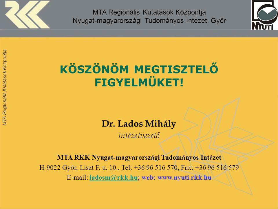 MTA Regionális Kutatások Központja MTA Regionális Kutatások Központja Nyugat-magyarországi Tudományos Intézet, Győr KÖSZÖNÖM MEGTISZTELŐ FIGYELMÜKET.
