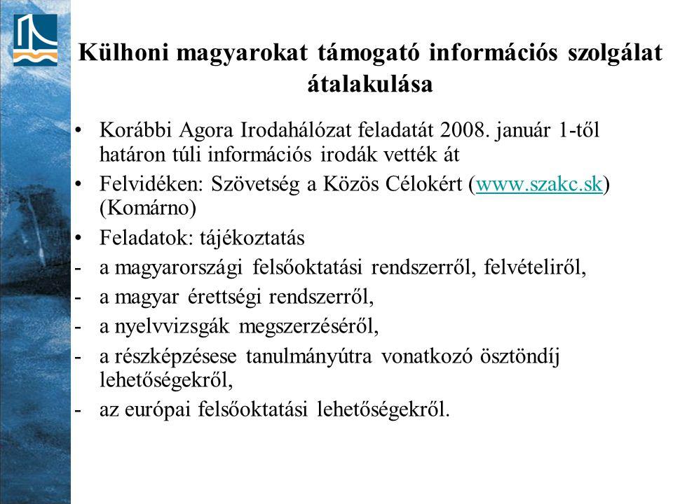 Külhoni magyarokat támogató információs szolgálat átalakulása Korábbi Agora Irodahálózat feladatát 2008.