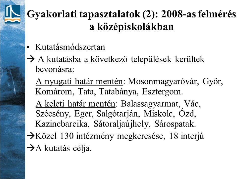 Gyakorlati tapasztalatok (2): 2008-as felmérés a középiskolákban Kutatásmódszertan  A kutatásba a következő települések kerültek bevonásra: A nyugati határ mentén: Mosonmagyaróvár, Győr, Komárom, Tata, Tatabánya, Esztergom.