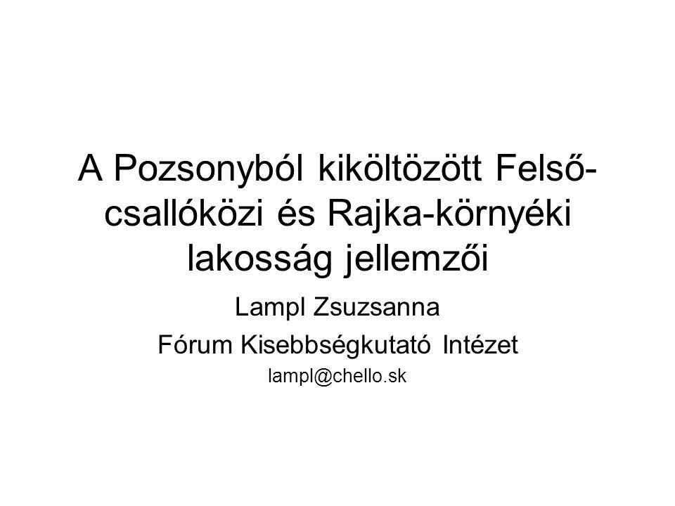 A Pozsonyból kiköltözött Felső- csallóközi és Rajka-környéki lakosság jellemzői Lampl Zsuzsanna Fórum Kisebbségkutató Intézet lampl@chello.sk