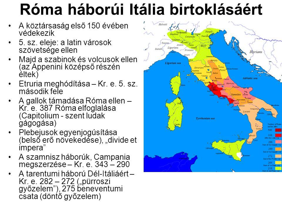 Róma háborúi Itália birtoklásáért A köztársaság első 150 évében védekezik 5. sz. eleje: a latin városok szövetsége ellen Majd a szabinok és volcusok e