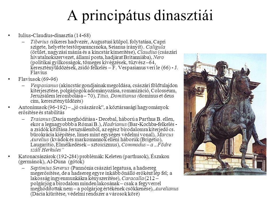 A principátus dinasztiái Iulius-Claudius-dinasztia (14-68) –Tiberius (sikeres hadvezér, Augustusi külpol. folytatása, Capri szigete, helyette testőrpa