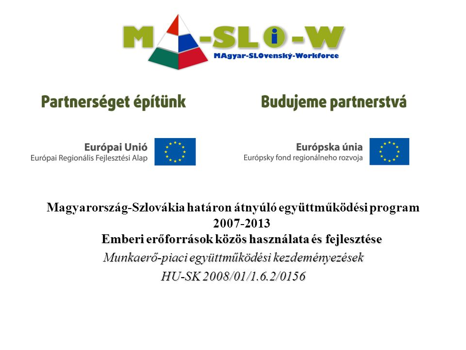 Emberi erőforrások közös használata és fejlesztése Magyarország-Szlovákia határon átnyúló együttműködési program 2007-2013 Emberi erőforrások közös használata és fejlesztése Munkaerő-piaci együttműködési kezdeményezések HU-SK 2008/01/1.6.2/0156