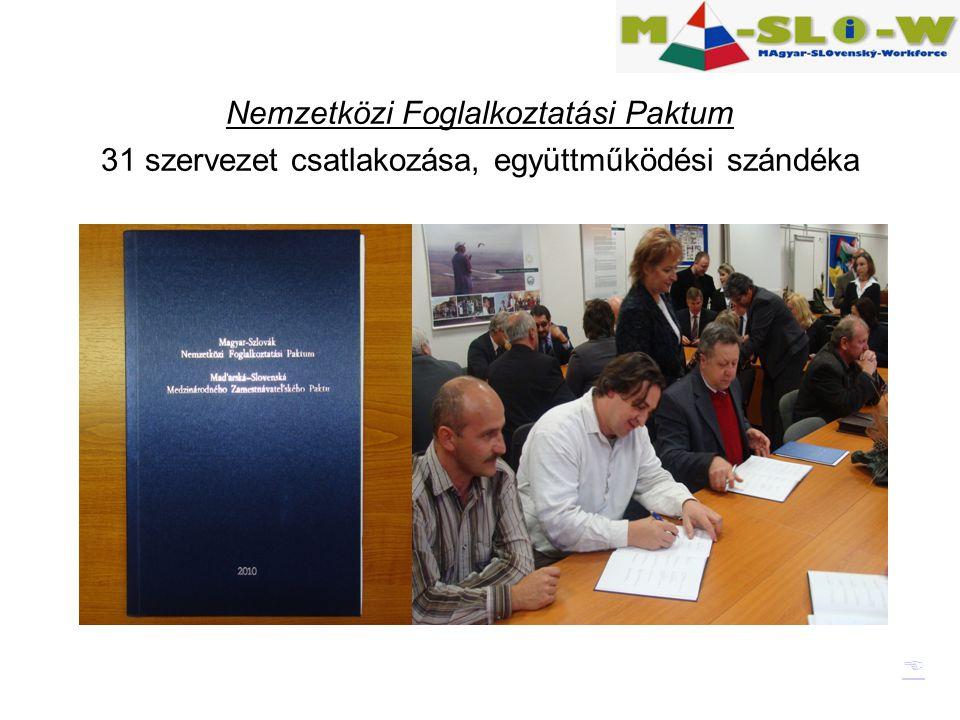 Nemzetközi Foglalkoztatási Paktum 31 szervezet csatlakozása, együttműködési szándéka 
