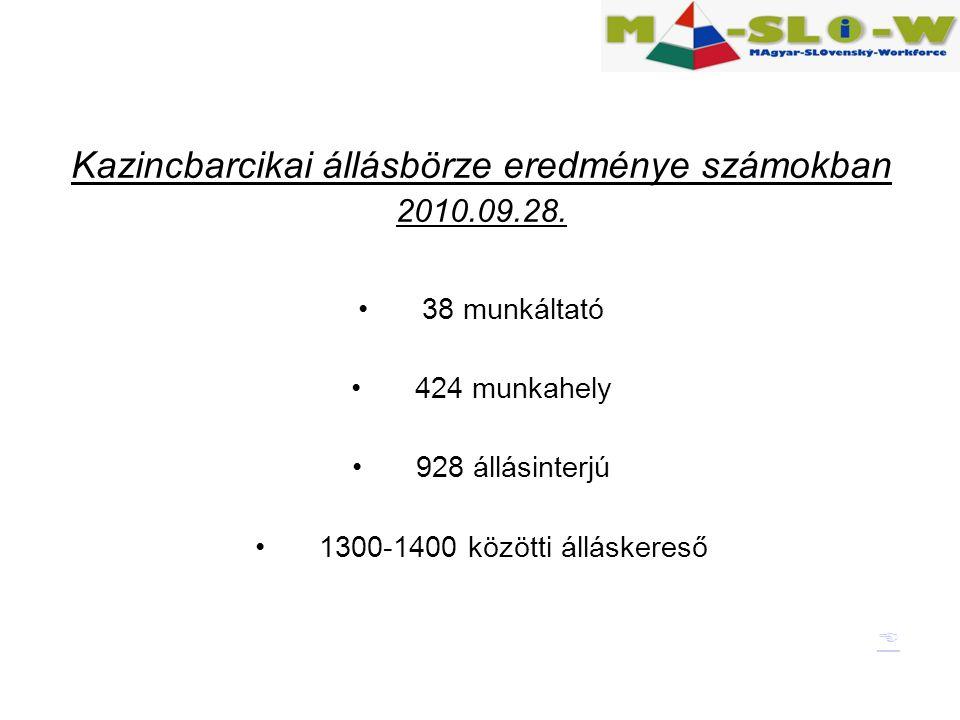 Kazincbarcikai állásbörze eredménye számokban 2010.09.28.