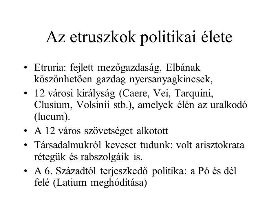 Az etruszkok politikai élete Etruria: fejlett mezőgazdaság, Elbának köszönhetően gazdag nyersanyagkincsek, 12 városi királyság (Caere, Vei, Tarquini, Clusium, Volsinii stb.), amelyek élén az uralkodó (lucum).