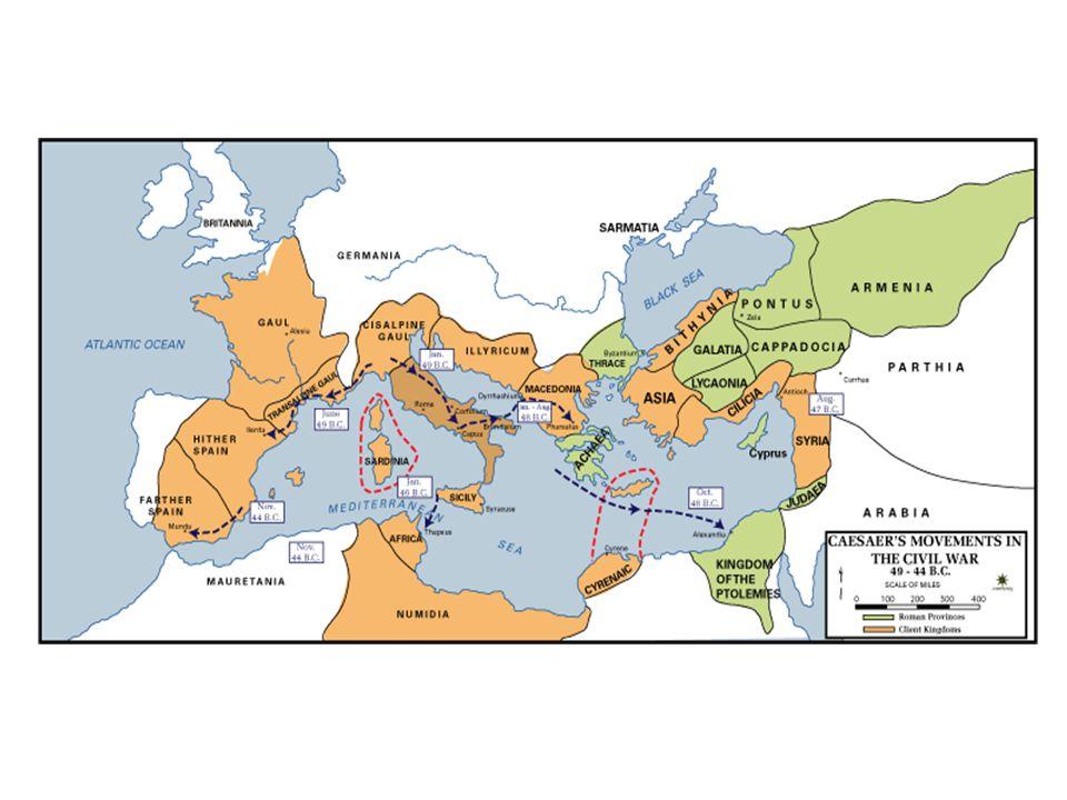 Caesar intézkedései cél a római polgárság megerősítése Megbocsátó az ellen forduló elittel szemben Csökkenti a rabszolgák jelentőségét (nem sorozza be őket a hadseregbe) Erősíti Róma és a provinciák kapcsolatát (római és latin jogok osztogatása) Egységesíti a pénzforgalmat (aranypénz, ostia kiépítése) Földosztás a veteránoknak (de nem a nagybirtokok lefoglalása árán) Naptárreform Bellum gallicum, Bellum civilum Kr.