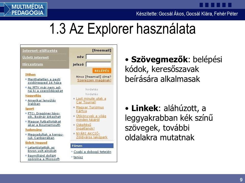 Készítette: Gocsál Ákos, Gocsál Klára, Fehér Péter 9 1.3 Az Explorer használata Szövegmezők: belépési kódok, keresőszavak beírására alkalmasak Linkek: aláhúzott, a leggyakrabban kék színű szövegek, további oldalakra mutatnak