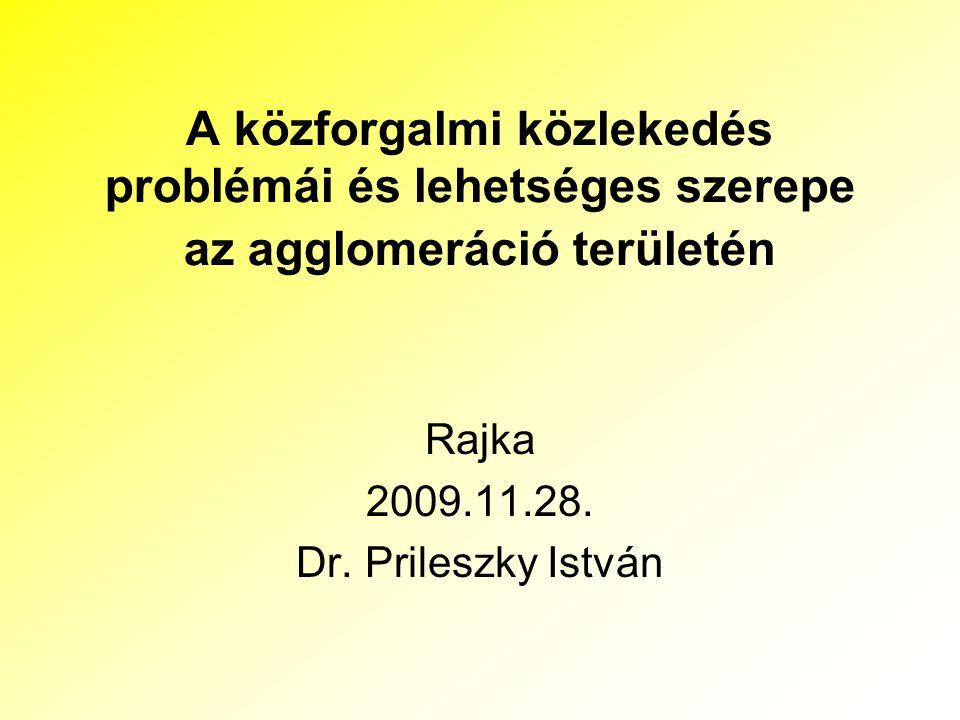 A közforgalmi közlekedés problémái és lehetséges szerepe az agglomeráció területén Rajka 2009.11.28. Dr. Prileszky István