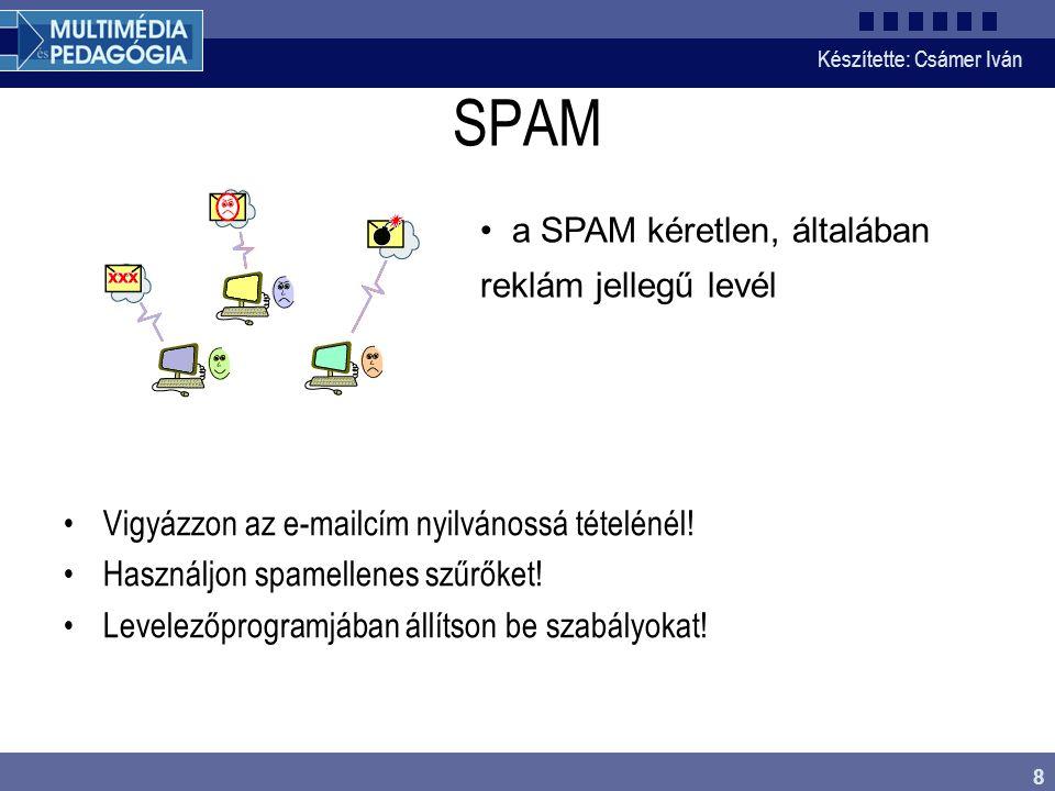 Készítette: Csámer Iván 9 Valósidejű kommunikáció Csevegőprogramok mirc – csatornákon www.mirc.com Csevegőoldalak csak böngészővel http://chat.gyaloglo.hu/http://chat.gyaloglo.hu/ Üzenetküldők (ICQ, MSN v.