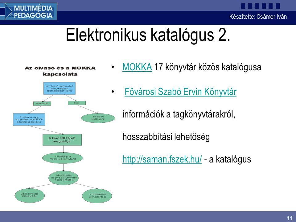 Készítette: Csámer Iván 11 Elektronikus katalógus 2. MOKKA 17 könyvtár közös katalógusaMOKKA Fővárosi Szabó Ervin Könyvtár információk a tagkönyvtárak