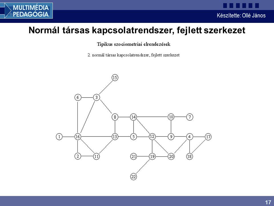 Készítette: Ollé János 17 Normál társas kapcsolatrendszer, fejlett szerkezet