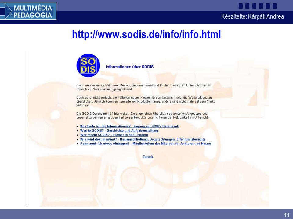 Készítette: Kárpáti Andrea 11 http://www.sodis.de/info/info.html