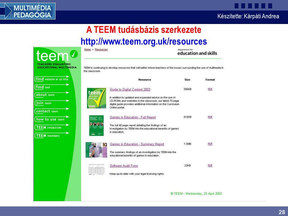 Készítette: Kárpáti Andrea 28 A TEEM tudásbázis szerkezete http://www.teem.org.uk/resources