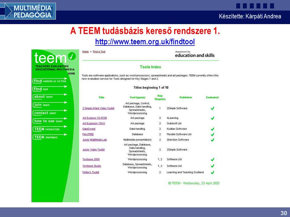 Készítette: Kárpáti Andrea 30 A TEEM tudásbázis kereső rendszere 1. http://www.teem.org.uk/findtool