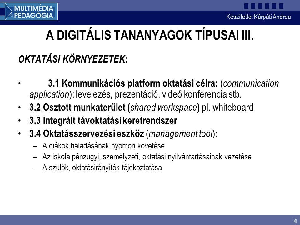 Készítette: Kárpáti Andrea 4 A DIGITÁLIS TANANYAGOK TÍPUSAI III. OKTATÁSI KÖRNYEZETEK : 3.1 Kommunikációs platform oktatási célra: ( communication app
