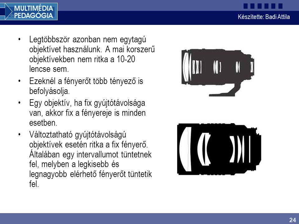Készítette: Badi Attila 24 Legtöbbször azonban nem egytagú objektívet használunk. A mai korszerű objektívekben nem ritka a 10-20 lencse sem. Ezeknél a