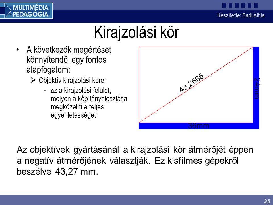 Készítette: Badi Attila 25 Kirajzolási kör A következők megértését könnyítendő, egy fontos alapfogalom:  Objektív kirajzolási köre: a z a kirajzolási