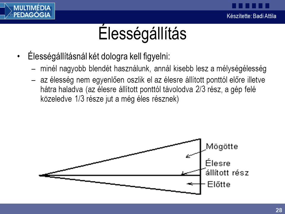 Készítette: Badi Attila 28 Élességállítás Élességállításnál két dologra kell figyelni: –minél nagyobb blendét használunk, annál kisebb lesz a mélységé