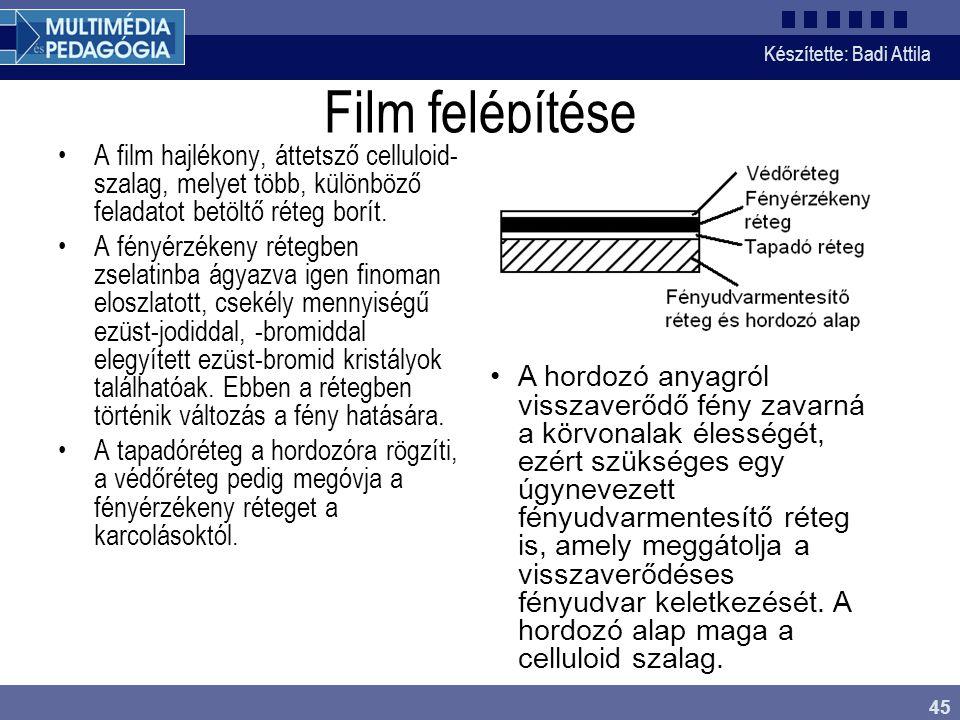 Készítette: Badi Attila 45 Film felépítése A film hajlékony, áttetsző celluloid- szalag, melyet több, különböző feladatot betöltő réteg borít. A fényé