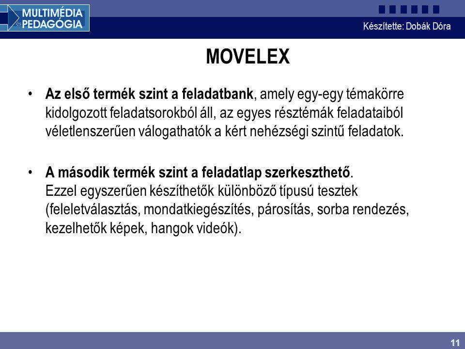 Készítette: Dobák Dóra 11 MOVELEX Az első termék szint a feladatbank, amely egy-egy témakörre kidolgozott feladatsorokból áll, az egyes résztémák feladataiból véletlenszerűen válogathatók a kért nehézségi szintű feladatok.
