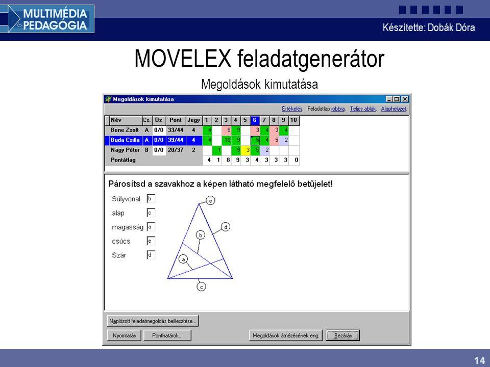 Készítette: Dobák Dóra 14 MOVELEX feladatgenerátor Megoldások kimutatása